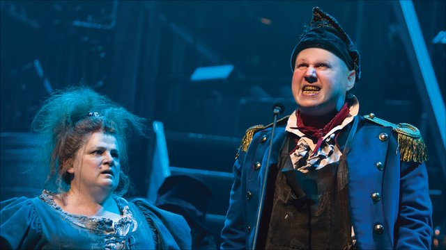 Matt Lucas on stage as Thénardier