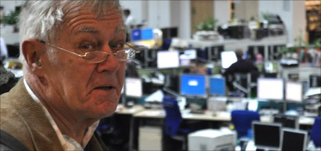 Richard Ingrams in the Telegraph newsroom