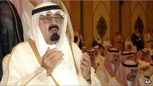 King Abdullah during Eid prayers in Mecca, Saudi Arabia (Sept 2010)