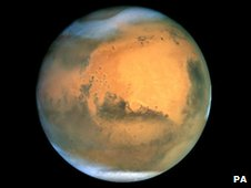 An image of Mars taken by the Hubble Space Telescope in 2001.