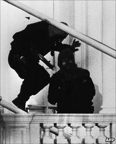 SAS soldiers about to enter the Iranian embassy in London to end the six-day siege in 1980.
