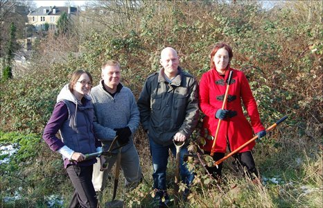 Staff at Mulberry House with gardening tools (L to R) Sarah Withers, Paul Hudson, Ken Broadwell, Ruby Jennings