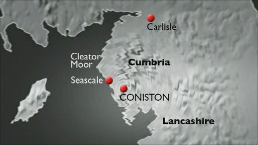 The earthquake, which had a magnitude of 3.6, was felt in locations across Cumbria