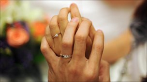 Newly-weds show off their wedding rings in Malaysia