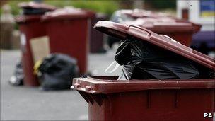 Full refuse bins in Liverpool
