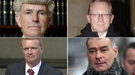 Clockwise from top left - Lord Bracadale, Alex Prentice QC, Tommy Sheridan and Paul McBride QC