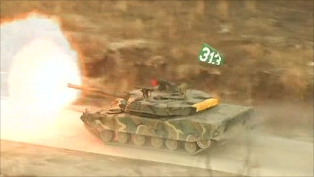 South Korean tank participating in live exercise near the North Korean border