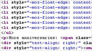 HTML code, BBC