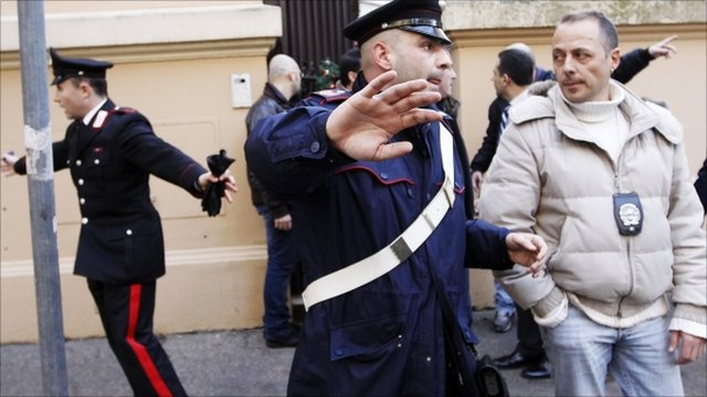 Police at the Chilean embassy in Rome