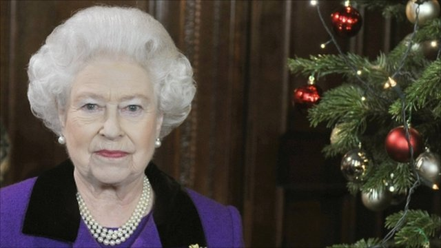 The Queen at the recording of her Christmas message
