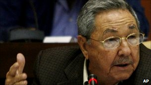 Cuban President Raul Castro addressing the national Assembly in Havana, 16 December 2010