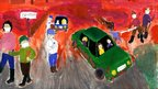 Painting by Bettina, 14, showing people leaving the disaster zone as red toxic sludge seeps in