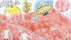 Drawing by Tamas, 12, showing aliens joining in the clean-up operation