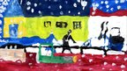 Andras, 11, paints a snowy winter scene with the rescue operation continuing