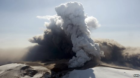 Aerial view shows the Eyjafjallajokull volcano billowing smoke and ash during an eruption on April 17 2010. Photo Hallador Kolbeins/AFP/Getty Images.