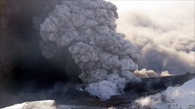 This aerial view shows the Eyjafjallajokull volcano billowing smoke and ash during an eruption on April 17, 2010