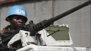 UN forces patrol a street in Abidjan, Ivory Coast