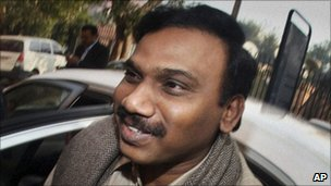India&#039;s former Telecom Minister A Raja at the Central Bureau of Investigation in Delhi on 24 December 2010