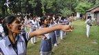 Students at Sheikh Fazilatunnesa Mujib Women's College learn karate