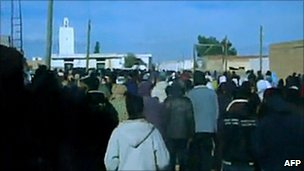 A demonstration in Tunisia's Sidi Bouzid region