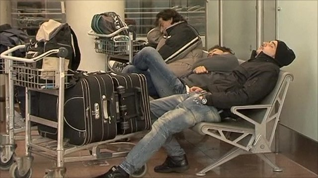 People sleeping at Brussels' Zaventem airport