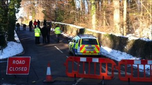 Road closed at scene of body find