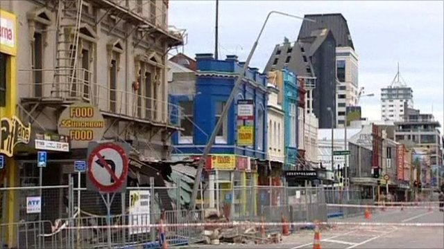 A street in Christchurch cordoned off after the earthquake