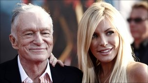 Hugh Hefner, left, and Crystal Harris arrive at a film premiere in April 2010