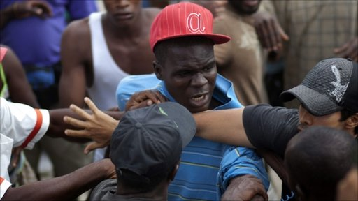 Fight in a Haitian refugee camp