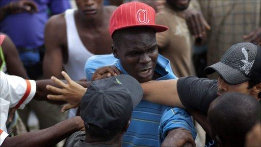 Fight in a Haitian refugee camp