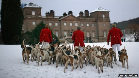 The hounds and members of the Albrighton Woodland Hunt gather before the start of their Boxing Day at Hagley Hall, near Bromsgrove