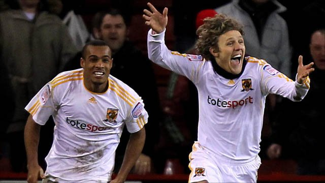 Jimmy Bullard celebrates scoring Hull's winner