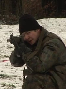 A Swiss recruit practises shooting