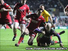 Richard Fussell's try secured the Ospreys' bonus point