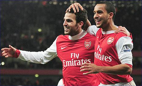 Arsenal duo Cesc Fabregas (left) and Theo Walcott
