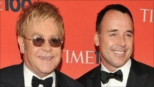 Sir Elton John and David Furnish. Photo: May 2010