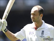 Jonathan Trott walks off the field