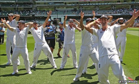 England's players celebrate