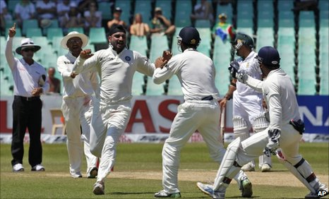 India celebrate another wicket in Durban