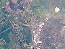 The Almondsbury Interchange from space, photographed by NASA Johnson Space Center