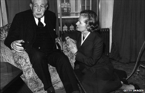 Harold MacMillan and Margaret Thatcher