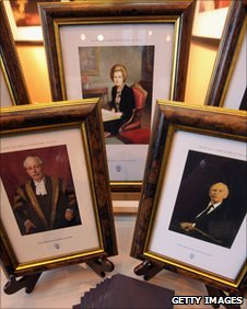 Framed portraits of former Conservative Prime Ministers