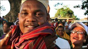 Ruling party presidential candidate Ikililou Dhoinine in Moheli, one of the Comoros islands