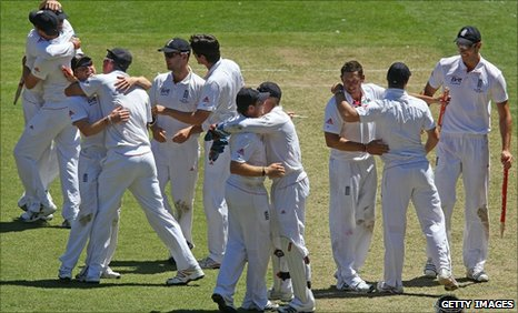 England celebrate in Melbourne