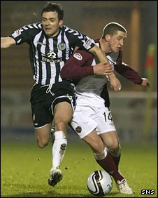 Steven Thomson tussles with Hearts' Calum Elliot