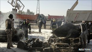 Aftermath of a bomb on the edge of Baghdad, Iraq (8 Dec 2010)