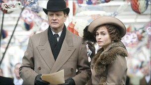 Colin Firth as Bertie (King George VI) and Helena Bonham Carter as Elizabeth in The King's Speech