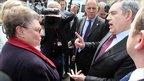 Gordon Brown speaks to local resident Gillian Duffy in Rochdale
