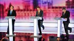 Conservative Party leader David Cameron, Liberal Democrat leader Nick Clegg and Prime Minister Gordon Brown take part in the third and final leaders' TV debate.