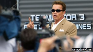 Arnold Schwarzenegger at a press conference for the movie Terminator 3